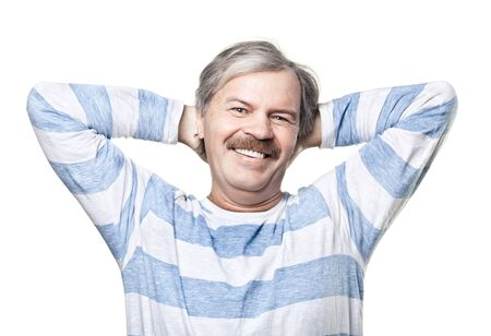 smiling cheerful mature man isolated on white background photo
