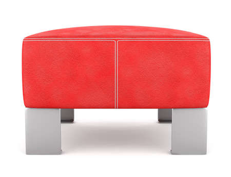 pouf: red leather pouf isolated on white background