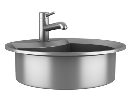 modern metal sink isolated on white background photo