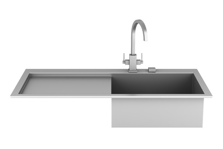modern metal sink isolated on white background Stock Photo - 13164152