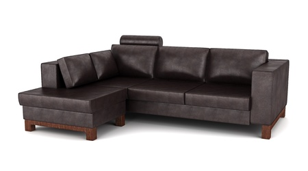 brown leather sofa: modern brown leather couch isolated on white background Stock Photo