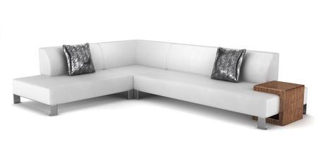 divan: sofá de cuero moderno con almohadas aisladas sobre fondo blanco Foto de archivo