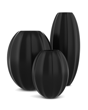 three black vases isolated on white background photo