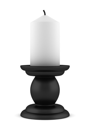 candle holder: black candlestick with candle isolated on white background Stock Photo