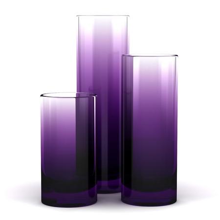 Three Purple Glass Vases Isolated On White Background Stock Photo