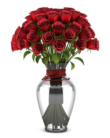 bouquet of red roses in vase isolated on white background photo