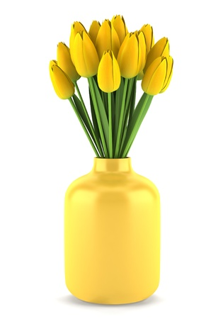 bouquet of yellow tulips in vase isolated on white background Stock Photo - 13717730