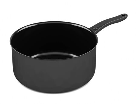 cooking pot: single black cooking pot isolated on white background Stock Photo