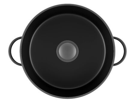 top view of black cooking pan isolated on white background Stock Photo - 13858673