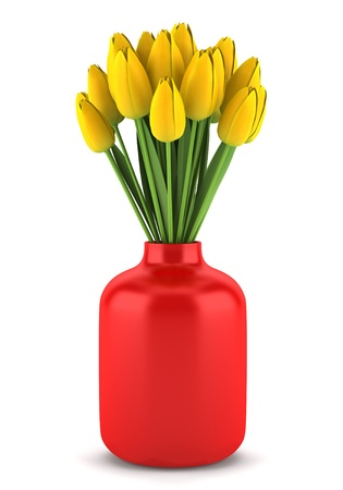 bouquet of yellow tulips in red vase isolated on white background Stock Photo - 13910507