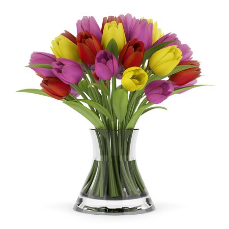 tulips in vase: bouquet of tulips in vase isolated on white background Stock Photo