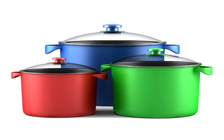 cooking pot: three color cooking pans isolated on white background