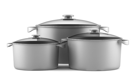 three gray cooking pans isolated on white background Stock Photo - 14154634