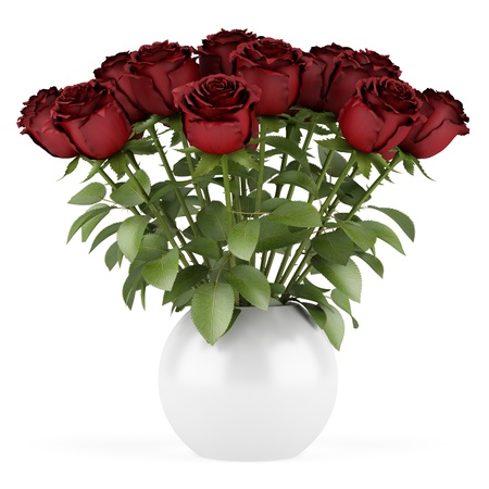 bouquet of red roses in vase isolated on white background Stock Photo - 14250257