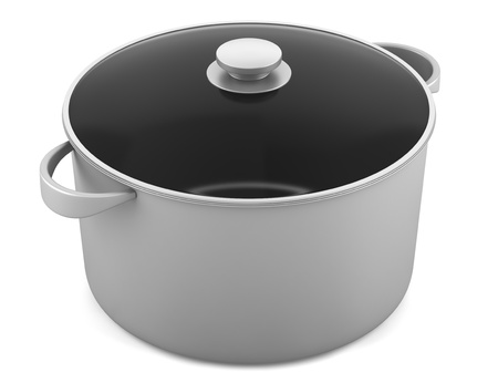 single gray cooking pan isolated on white background photo