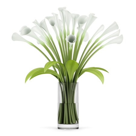 florero: ramo de lirios en el florero de cristal aislado en fondo blanco