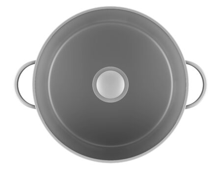 top view of gray cooking pan isolated on white background photo