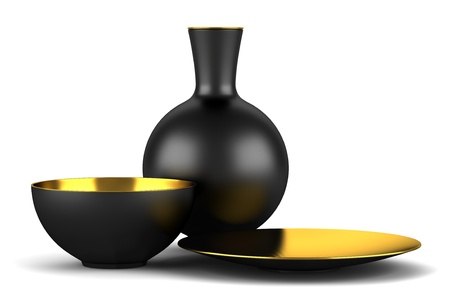 black vase with bowls isolated on white background photo