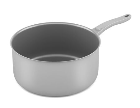 single gray cooking pot isolated on white background photo