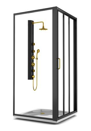 golden shower: black shower cabin isolated on white background