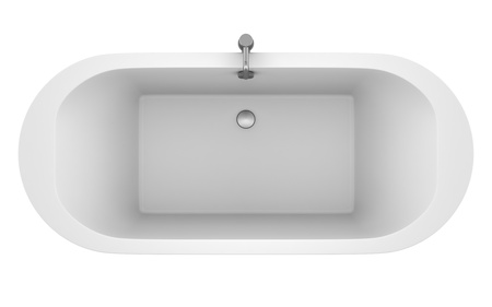 bathtub: top view of modern bathtub isolated on white background