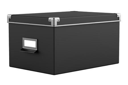 single black office cardboard box isolated on white background Stock Photo - 15805621