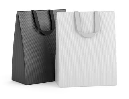 dos bolsas de la compra en blanco, aislados en fondo blanco
