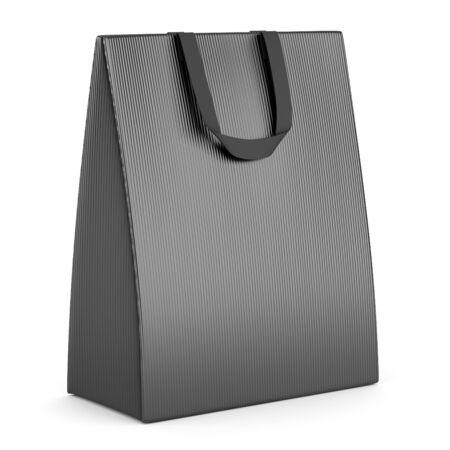 single blank gray shopping bag isolated on white background Stock Photo - 15934725