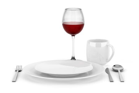 table setting with glass of red wine isolated on white background Stock Photo - 16038438