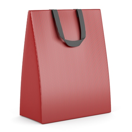 single blank red shopping bag isolated on white background Stock Photo - 16148322
