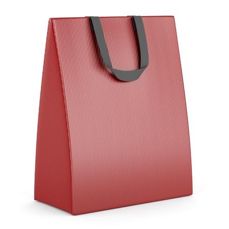 single blank red shopping bag isolated on white background Stock Photo - 16148322