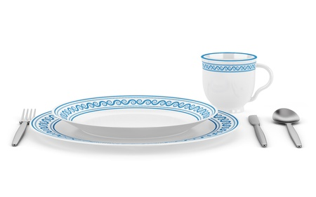 table setting with cup isolated on white background Stock Photo - 16402728