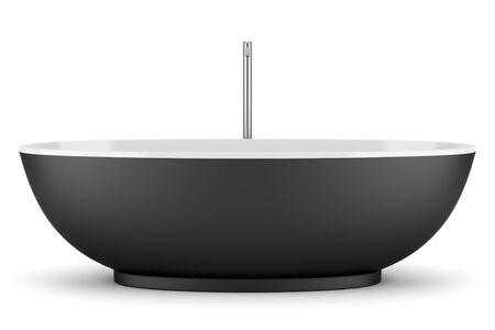 bath tub: modern black bathtub isolated on white background