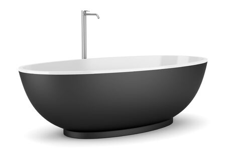 modern black bathtub isolated on white background Stock Photo - 16402730