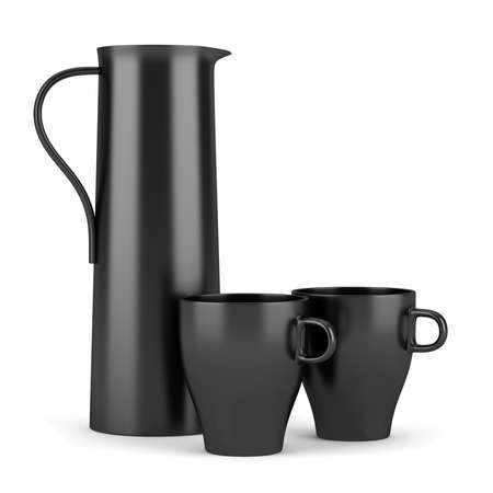 modern black jug with two cups isolated on white background Stock Photo - 16402731