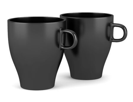 two black ceramic cups isolated on white background Stock Photo - 16464592