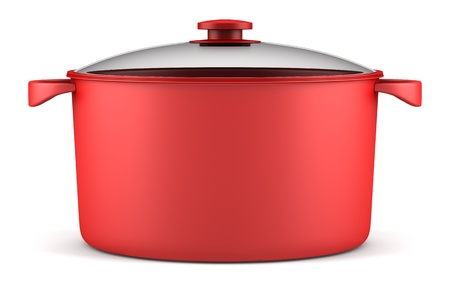 single red cooking pan isolated on white background Stock Photo - 16584430