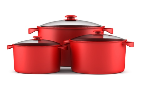 three red cooking pans isolated on white background Standard-Bild