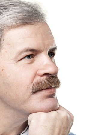 white moustache: portrait of thoughtful mature caucasian man isolated on white background Stock Photo