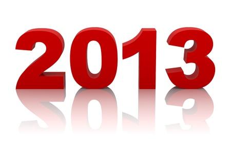 neue Jahr 2013 mit Reflexion auf weißem Hintergrund