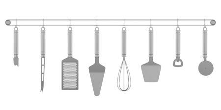 set of metallic kitchen utensils isolated on white background Stock Photo - 16651441