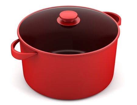 single red cooking pan isolated on white background Stock Photo - 16927954