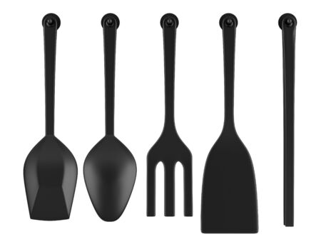 set of five kitchen utensils isolated on white background Stock Photo - 16927952