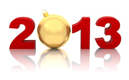 new year 2013 with golden christmas ball isolated on white Stock Photo - 16927953