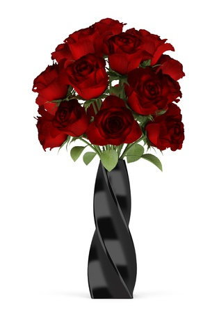bouquet of red roses in black vase isolated on white background photo