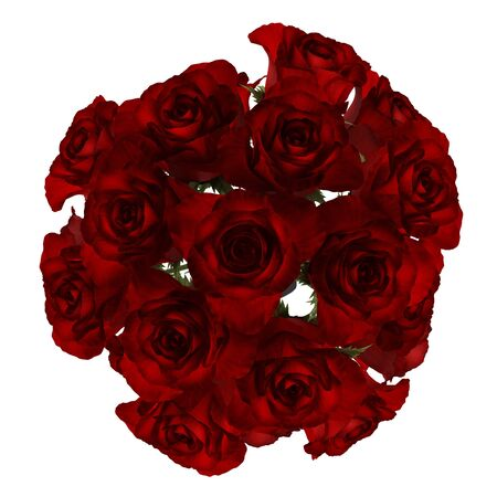 top view bouquet of red roses isolated on white background Stock Photo - 17206865