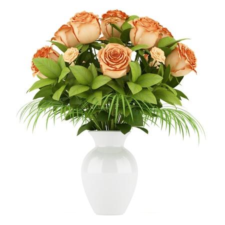 bouquet of orange roses in vase isolated on white background Stock Photo - 17250287