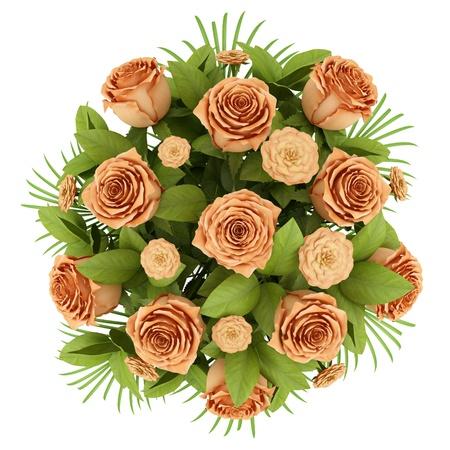rosas naranjas: ramo vista desde arriba de rosas de color naranja sobre fondo blanco Foto de archivo