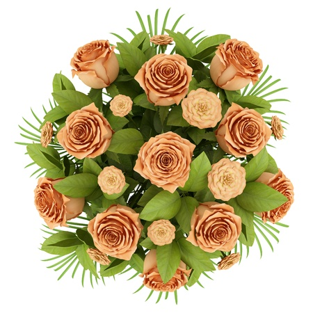 top view bouquet of orange roses isolated on white background