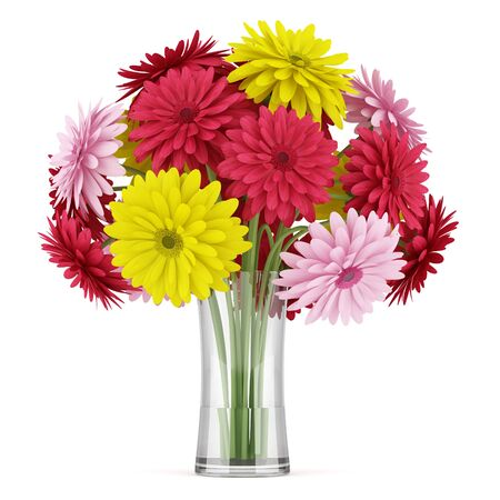 bouquet of yellow red and pink flowers in vase isolated on white background Stock Photo - 17382697